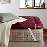 Cloth Fusion FluffyCloud 600 GSM Hotel Quality Microfiber Mattress Topper/Padding for King Size Bed (78' x 72', Maroon)