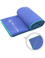5BILLION Microfibra Toalla de Yoga - 183cm x 61cm - Hot Toalla de Yoga, Bikram Toalla de Yoga, Ashtanga Toalla de Yoga - Antideslizante, Absorbente, de Secado Rápido - con Bolsa de Transporte Gratuita (Azul)