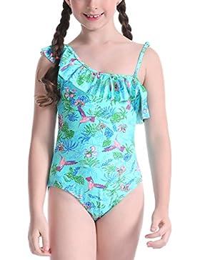 Perfashion Mädchen Badeanzug Ein Stück Badeanzug für Kinder Blumenmuster Verstellbarer Riemen Bikini Rüschen