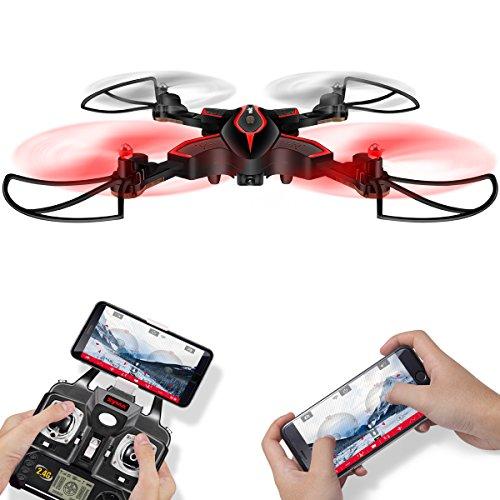FPV Faltbar RC Drohne Syma X56W Foldable Flexible RC Quadcopter Mit Wifi HD Kamera APP Steuerung live Video Tragbar klappbar Hubschrauber Höhenhaltung 360 Grad Drehung Kopflos Modus Schwerkraft-Sensor RTF Für Kinder Schwarz