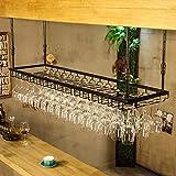 Wine Rack - Hängende Wand Umgedrehtes Lagerregal-Wein-Schmiedeeisen umgekehrter hoher Becherhalter Felice Home (Farbe : SCHWARZ, größe : 120cm*35cm)