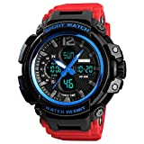 Skmei Analog-Digital Shock Resistant Red Band Royal Blue Casing Sports Countdown Timer Watch