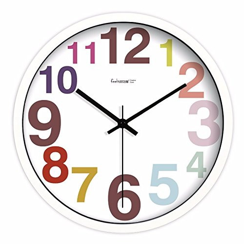 FortuneVin Lautlos Wanduhr Schleichende Sekunde ohne Ticken hängende Uhren Silent No-drip Candy Farbige runde Zahl 14 in Weiß