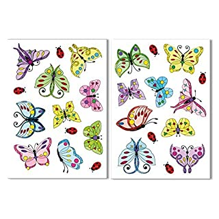 18 Art Deco Style Butterflies & 8 Ladybird Window Clings by Articlings - All Non-adhesive Stickers Quickly Decorate and Brighten your Windows
