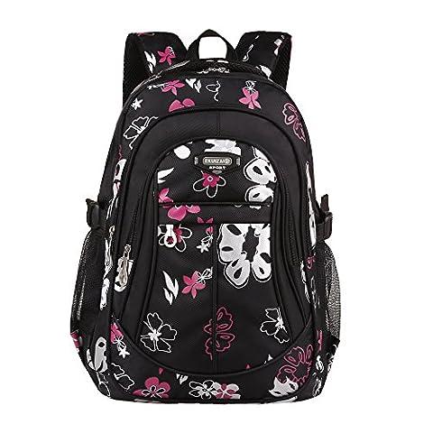 Bravoe Blumen Kinder Rucksack Groß Schulrucksack Schultasche für Jungen Mädchen Teenager Jugendliche (Schwarz)