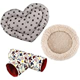 MagiDeal Combo of Small Animal Hamster Round Mat Heart Shape Mat Play Tunnel 3Way Hideout,3-Pack - #3
