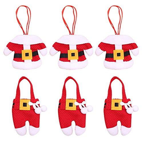 Etophigh manuell Weihnachten Besteckhalter, 6 Pcs Weihnachten Dekoration Geschirrhalter Weihnachtsmann Kostüm Besteckhalter Set für Weihnachten