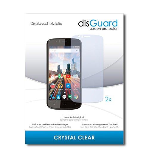 disGuard® Displayschutzfolie [Crystal Clear] kompatibel mit Archos 50e Helium [2 Stück] Kristallklar, Transparent, Unsichtbar, Extrem Kratzfest, Anti-Fingerabdruck - Panzerglas Folie, Schutzfolie