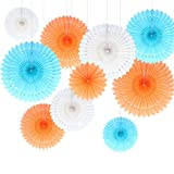 Himeland 10er Seidenpapier Fächer Set(Tissue Paper Fans Kit), Dekoration für Party/Feier/ Hochzeit/Geburtstag/Baby Shower/Kombination (Weiß Orange Blau)