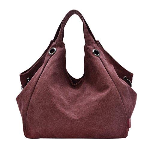 Leinwand Frauen Große Kapazität Art Und Weise Wearable Atmungsaktiv All-Gleiches Taschen Handtasche Purple