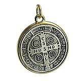 medalla de San Benito Saint ST Benedict Zwei Ton Medaillon Antik Silber & Gold Finish 35mm Medaille von Bling Cartel
