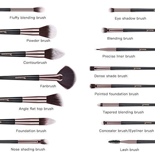 Pinceaux Maquillage, Dameso Professionnel Cosmétique Brush 15pcs Set Beauté Cosmétique Brush Poils Synthetiques Doux et Sans Cruauté, Makeup Brushes Cosmétique avec Étui de Voyage Élégant (noir)