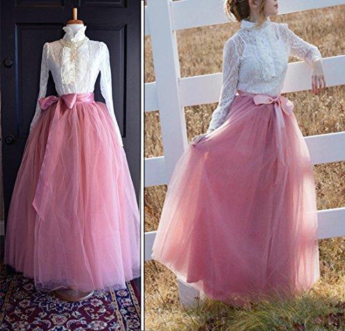 Femmes Tutu Ballet Jupe, 39,3 pouces en couches Organza dentelle Bubble Puffy une ligne courte et Maxi longueur Tulle Princess Petticoat pour la robe de bal Poudre de pêche