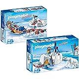 Playmobil Set 9056 Polar ranger con osos polares + 9057 trineo de perros con perros esquimales