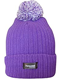 Women's Thinsulate Chunky Knit Fleece Lined Thermal Winter Bobble Hat