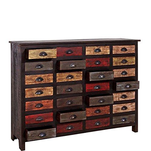 Apothekerschrank: BUTLERS Moriani Sideboard mit 28 Schubladen bunt aus recycletes Holz Vintage-Look