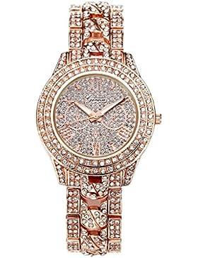 JSDDE Uhren,Luxus Elegangt Damen Armbanduhr mit Strass Glitzer Dial Damenuhr Metall-Band Ladies Dress Analog Quarzuhr...