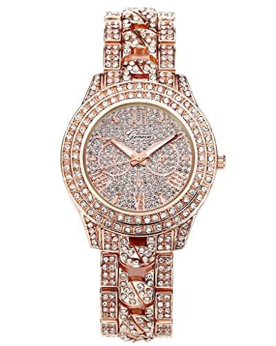 JSDDE Uhren,Luxus Elegangt Damen Armbanduhr mit Strass Glitzer Dial Damenuhr Metall-Band Ladies Dress Analog Quarzuhr (Rosegold)