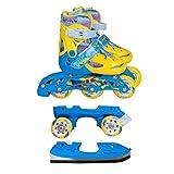 Inline Skates Kinder | NILS| Inliner 3in1 | Verstellbare Schlittschuhe Rollschuhe Größenverstellbar | Pink- Blau –Gelb | Größen 27-38 (Blau-Gelb, 31-34)