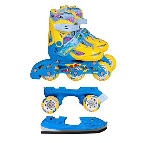 Inline Skates Kinder   NILS  Inliner 3in1   Verstellbare Schlittschuhe Rollschuhe Größenverstellbar   Pink- Blau –Gelb   Größen 27-38 (Blau-Gelb, 35-38)