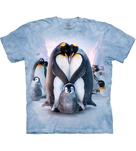 The Mountain Unisex Erwachsen Gr. L Pinguin Herz T Shirt,Blau
