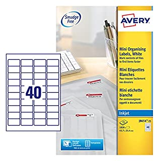 Avery Self Adhesive Address Mailing Labels, Inkjet Printers, 40 Labels per A4 Sheet, 1000 labels, QuickDRY (J8654)