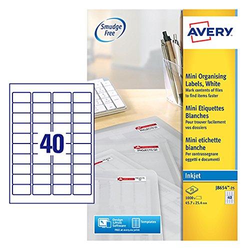 Avery J8654-25 Mini-Etiketten für Tintenstrahldrucker (40 pro Blatt, 45,7 x 25,4 mm) 1000 Etiketten...