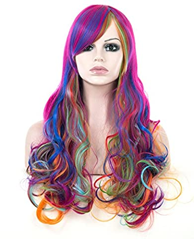 Spretty Long Curly Wavy Wigs Harajuku Style Rainbow Color for Women Girls Cosplay Costume Party