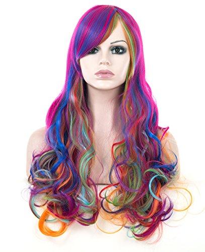 Weibliche Uk Cosplay Kostüme (Spretty Lange lockige wellenförmige Perücken Harajuku Stil Regenbogen Farbe für Frauen Mädchen Cosplay Kostüm)
