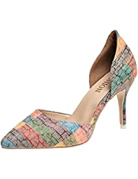 Ruanlei@Damen Spitz High Heels Kleid-Partei Pumps/High Heel Pumps/Abendschuhe/Heels T-Spangen Pumps mit NietenEinfache...