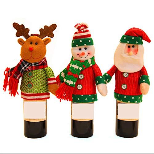 PUDDINGY® Weihnachten Weinflasche Abdeckung, 3 Stücke Weihnachten Weinflasche Deckt Taschen Tisch Dekoration Für Party Dekoration Weihnachten Figurine Weinflasche Set (Weihnachten-kunststoff Deckt Tisch)