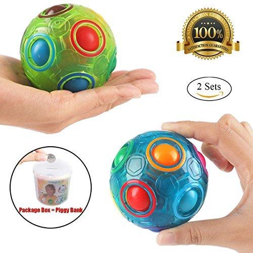 PROACC 2PCS Regenbogen Ball Magic Ball Spielzeug Puzzle Magic Rainbow Ball für Kinder Pädagogisches Spielzeug Jugendliche Erwachsene Stress Reliever Malloom Pop Luminous Stressabbau Blau und Grün (Unterwegs-spiele Für Kinder)