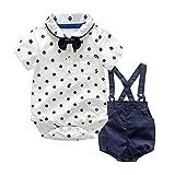 Jungenkleidung, Sonnena 2pcs Baby Kleikind Junge Kurzarm Krawatte T-Shirt Hemd+ Kurz Bib Hose Pants Outfit Set Tägliche Baumwolle Bekleidungssets Sommerkleidung Set Kindermode (6 Monat, Weiß*)