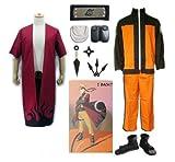SUNKEE Naruto Akatsuki Ninja Cosplay Costume Per Uzumaki Set--Uzumaki Naruto Cappotto +Modalità di Uzumaki Naruto Sage Mantello +Uzumaki Naruto Ninja Fascia per Capelli+ Armi Suit+ Scarpe, Taglia L (Altezza 170-175cm, Peso 65-75 kg)