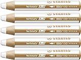 Crayon de coloriage - STABILO woody 3in1 - Lot de 5 crayons tout-terrain - Blanc titane