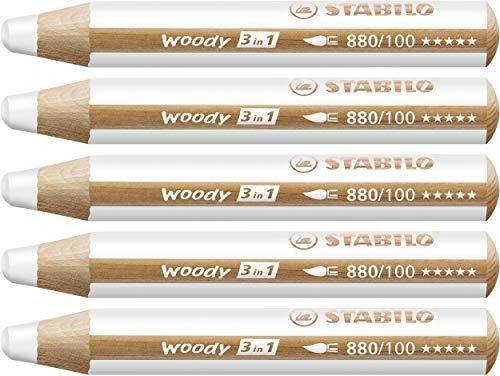 STABILO Woody 3 in 1 matitone colorato colore Bianco - Confezione da 5