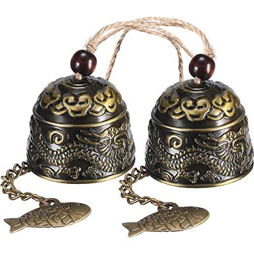 Chuangdi 2 Stücke Fengshui Glocke Vintage Dragon Bell Fengshui Windspiele für Hausgarten Hängen Glück Segen