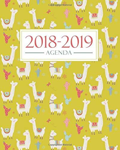 Agenda 2018-2019: 19x23cm : Agenda 2018 2019 semainier : 1 septembre 2018 au 31 août 2019 : Motif lamas et cactus 3384 par Papeterie Bleue