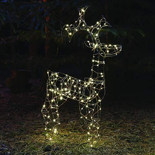 beleuchtete, weihnachtliche 3D Outdoor Deko-Figur - Rentier - 160 LEDs in warmweiß, von Festive Lights (stehendes Rentier)