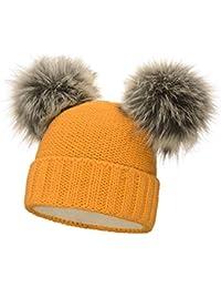 8e3857f57e9b24 Neverless® gefütterte Damen Strickmütze mit Doppel-Fell-Bommel und Fleece  Futter, Winter