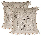 "Sandur Handicrafts Cotton 2-Piece Cushion Cover - 16"" x 16"", Off-White"