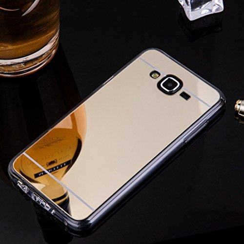 Galaxy J5 Hülle,Galaxy J5 Silikon Hülle,JAWSEU Schutzhülle Samsung Galaxy J5 Hülle [Glitzer Strass Ring Stand Holder], Luxus Glitzer Bling Diamant Strass Spiegel TPU Case für Samsung Galaxy J5 Bumper  Champange Gold