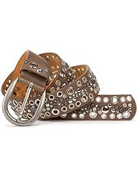 2991e8185344 StyleBREAKER ceinture en cuir véritable, lochnieten et strass style vintage  03010026–ajustable