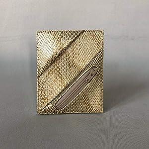 Kreditkartenetui Cardholder Geldbeutel Visitenkarten Etui tablet Gold Schlange Snake Snakeprint Animal ykk Münzfach RFID-secure, handgefertigt von wagnerstrasse
