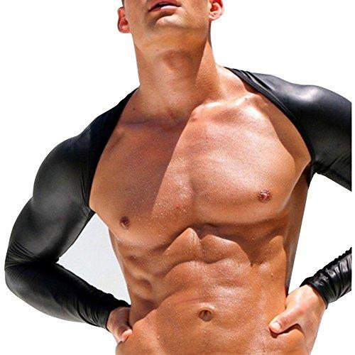 YiZYiF Wetlook Herren Unterhemd Männerunterwäsche Arm Hülsen Top T-shirt Langarm / Kurzarm Muskelshirt Clubwear Kostüm (S, #1 (Männer Armee Kostüme)