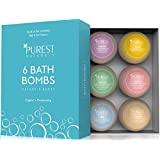 Purest Naturals Holiday Bath Bombs Gift Set Kit - 6 x 4 Oz Best Ultra Lush Fizz Essential Oil Handmade Spa Bomb Fizzies - Organic & Natural Ingredients - Tub Tea Bath Basket