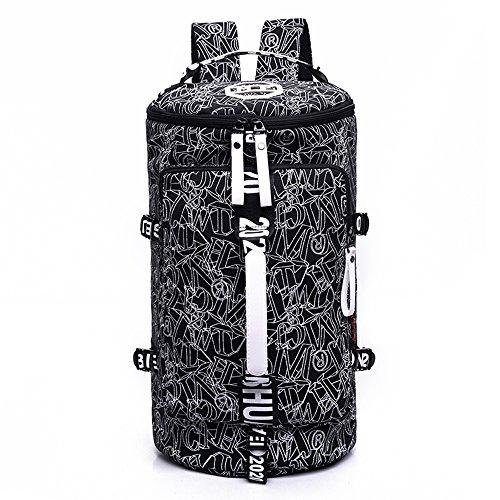 WOMJIA Bunt Reisetsache Sporttasche Weekender Tasche Handgepäck aus Canvas Segeltuch 35 Liter Schwarz Schwarz