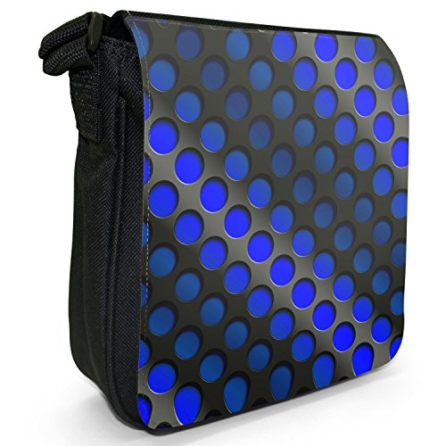 Abstract 3D-Wave-Piccola borsa a tracolla in tela, colore: nero, taglia: S Blue Abstract 3D Wave
