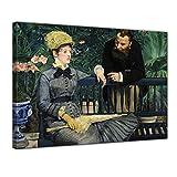Bilderdepot24 Leinwandbild - Édouard Manet - Im Wintergarten - 70x50cm Einteilig - Alte Meister - Bilder als Leinwanddruck - Kunstdruck - Leinwandbilder - Bild auf Leinwand - Wandbild