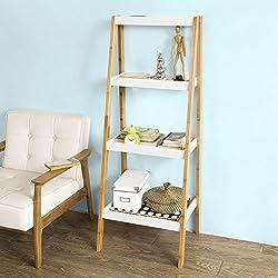 SoBuy® Moderna estantería escalonada, librería, estantería de pared, estante de 4 plegable niveles, FRG157-WN,ES